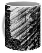 Sunbeams Through The Pines - Mount Rainier Coffee Mug