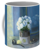 Sunday Morning And Roses - Blue Coffee Mug