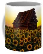 Sunflower Morning With Barn Coffee Mug
