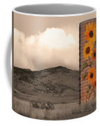 Sunflower Silo In Boulder County Colorado Sepia Color Print Coffee Mug