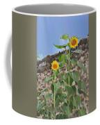 Sunflowers And A Stone Wall Coffee Mug