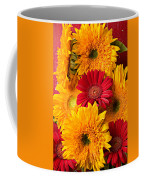 Sunflowers And Red Mums Coffee Mug