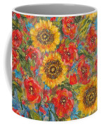 Sunflowers In Blue Pitcher. Coffee Mug