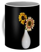 Sunflowers On Black Background And In White Vase Coffee Mug