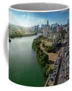 Sunrays Paint The Austin Skyline As Rush Hour Traffic Picks Up On I-35 Coffee Mug