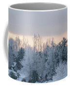 Sunrise Glos Behind Trees Frozen Trees Coffee Mug