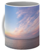 Sunrise Moonset - Feathery Clouds And Crescent Moon Over Water Coffee Mug