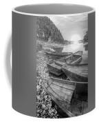 Sunrise Rowboats  In Black And White Coffee Mug