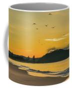 Sunrise Seascape With Mountain And Birds Coffee Mug
