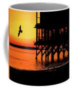 Sunset At Raft With Bird Coffee Mug