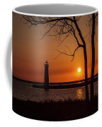 Sunset At The Lighthouse In Muskegon Michigan Coffee Mug