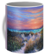 Sunset Beach Painting With Walking Path And Sand Dunesand Blue Waves Coffee Mug