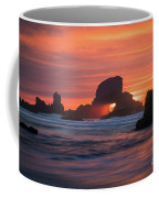 Sunset Behind Arch At Oregon Coast Usa Coffee Mug