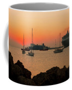 Sunset, Boats And Sea Coffee Mug