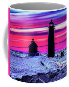 Sunset In Winter At Grand Haven Lighthouse Coffee Mug