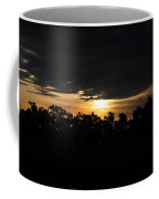 Sunset Over Farm And Trees - Silhouette View  Coffee Mug