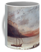 Sunset Over Lake Leman Coffee Mug by Gustave Courbet
