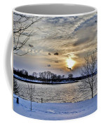Sunset Over Obear Park In Snow Coffee Mug