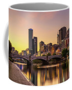 Sunset Over Skyscrapers Of Melbourne Downtown And Princes Bridge Coffee Mug