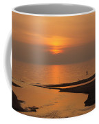 Sunset While Fishing At River Mouth And Lake Michigan Coffee Mug