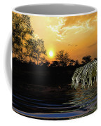 Sunset Zebras At The Watering Hole Coffee Mug