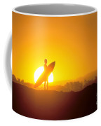 Surfer Silhouetted At Sun Coffee Mug