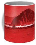 Surfers On Morro Rock Beach In Red Coffee Mug