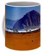 Surfers On Morro Rock Beach Coffee Mug
