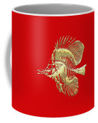 Surgeonfish Skeleton In Gold On Red  Coffee Mug