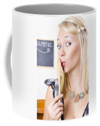 Surprised Female Kitchen Cook Hiding Secret Recipe Coffee Mug