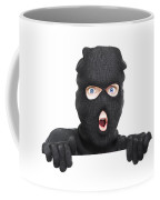 Surprised Robber Holding Blank Security Sign Coffee Mug