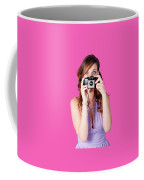 Surprised Woman Taking Picture With Old Camera Coffee Mug