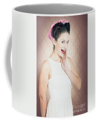 Surprised Woman With Brunette Hair And Red Lips Coffee Mug