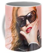 Surprised Young Woman Wearing Fashion Sunglasses Coffee Mug