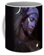 Surreal Celestial Angelic Face With Stars And Moon - Purple Moon Celestial Angel  Coffee Mug