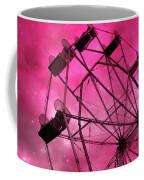 Surreal Fantasy Dark Pink Ferris Wheel Carnival Ride Starry Night - Pink Ferris Wheel Home Decor Coffee Mug