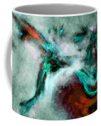 Surrealist And Abstract Painting In Orange And Turquoise Color Coffee Mug