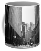 Sutter Street Cyclists - San Francisco Street View Black And White  Coffee Mug
