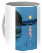 Swans Gliding Into The Moonlight During A Moonrise In Stockholm Coffee Mug