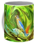 Swirling Bluebird Abstract Coffee Mug