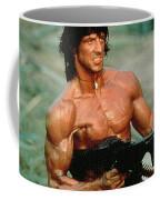 Sylvester Stallone And Browning Machine Gun Rambo 1985 Coffee Mug
