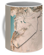 Syria Country 3d Render Topographic Map Neutral Border Coffee Mug