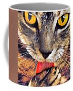 Tabby Cat Licking Paw Coffee Mug