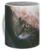 Tabby Cat Looking From Beneath A Blanket  Coffee Mug
