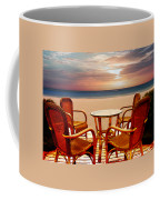 Table For Four At The Beach At Sunset Coffee Mug