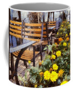 Tables And Chairs With Flowers Coffee Mug