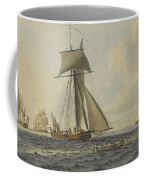 Taking Crew To An English Frigate Near The Needles Isle Of Wight By Robert Cleveley Coffee Mug