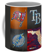 Tampa Bay Sports Fan Recycled Vintage Florida License Plate Art Bucs Rays Lightning Plus State Map Coffee Mug