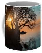 Teal And Orange Morning Tranquility With Rocks And Willows Coffee Mug