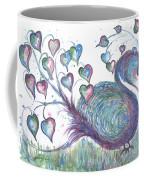 Teal Hearted Peacock Watercolor Coffee Mug